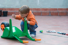 LIttle boy in the backyard Stock Photography