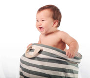 Little boy in bag royalty free stock image
