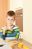 Little boy is baking. Family baking Christmas cookies in the kitchen Stock Photo