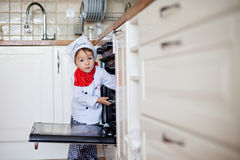 Little boy, baking muffins Stock Photography