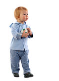 Little boy with ball. Little boy with soccer ball in his hands stock photo
