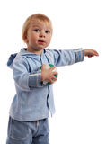 Little boy with ball. Little boy holding soccer ball and point out royalty free stock photos
