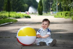 Little boy with a ball in the park Royalty Free Stock Photography
