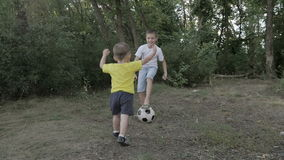 Little boy with a ball in the park stock video