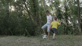 Little boy with a ball in the park stock video footage