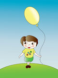 The little boy with a balloon. In a hand on a blue background Stock Photography