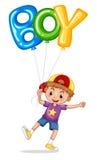 Little boy with balloon for word boy. Illustration vector illustration