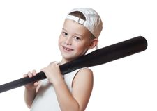 Little boy with a baseball bat Stock Images
