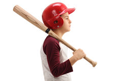 Little boy with a baseball bat and a helmet. Isolated on white background Royalty Free Stock Photos