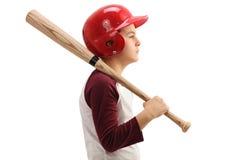 Little boy with a baseball bat and a helmet Royalty Free Stock Photos