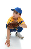 Little boy in baseball T-ball gear. A little boy baseball player crouching down with a mitt.  Space for copy Stock Image
