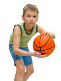 Little boy With Basketball Stock Images
