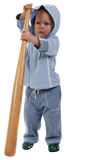 Little boy with bat. Little boy with a bat isolated on the white Royalty Free Stock Images