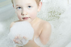 Little Boy in the Bath.Funny Child in Foam Stock Images