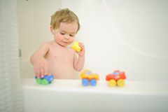 Little boy in bath Stock Photo