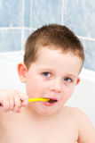 Little boy in the bath tub brushing his teeth Royalty Free Stock Images