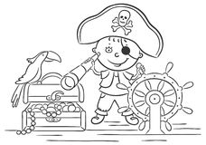 Little Boy Bawić się pirata Obrazy Royalty Free