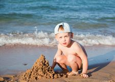 Little boy on a beach Royalty Free Stock Photos