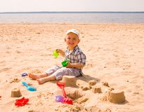Little boy on a beach Stock Photo