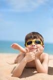Little boy on the beach Stock Photo