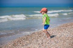 A little boy on the beach Stock Photo
