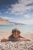 Little boy on the beach Royalty Free Stock Image