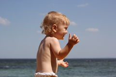 Little boy on the beach Royalty Free Stock Images