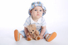 Little boy with bear toy Royalty Free Stock Image
