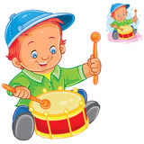 Little boy beat the drum Royalty Free Stock Photo