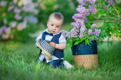 Little boy on the beautiful green lawn with lilac. Image with selective focus Stock Photography