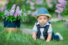 Little boy on the beautiful green lawn with lilac. Image with selective focus Royalty Free Stock Photography