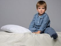 Little boy in bed Royalty Free Stock Photo