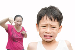 Little boy being Scolded by his mother Stock Photography