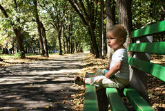 Little boy on a bench. Little boy sits on a bench in a park stock photo
