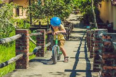 Little boy on a bicycle. Caught in motion, on a driveway motion blurred. Preschool child`s first day on the bike. The. Joy of movement. Little athlete learns to Stock Photos