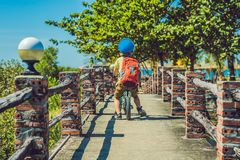 Little boy on a bicycle. Caught in motion, on a driveway motion. Blurred. Preschool child`s first day on the bike. The joy of movement. Little athlete learns to Royalty Free Stock Images