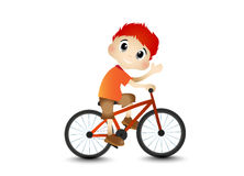 Little Boy and Bicycle Stock Photo
