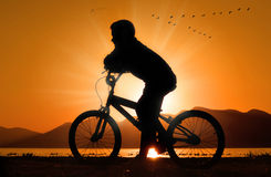 Little Boy on bicycle silhouette at sunset. A silhouette of a little boy on his bicycle standing next to a lake with birds flying over and sunset in background Stock Photography