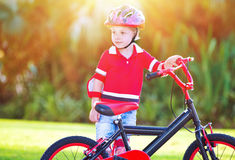 Little boy with bicycle Royalty Free Stock Image