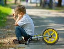 Little boy on a bicycle Royalty Free Stock Images