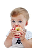 Little boy with big apple Stock Photo