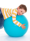 Little boy with a big ball. Stock Photography