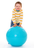 Little boy with a big ball. Royalty Free Stock Photos