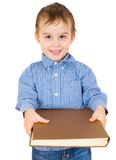 Little boy with a big book Royalty Free Stock Photo