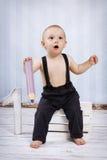 Little boy with big crayon stock photo