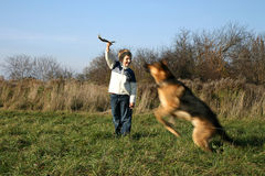 Little boy and big dog (German Shepherd ). The little boy is training the big dog German Shepherd Dog ). The obedience and the cooperation Stock Photos
