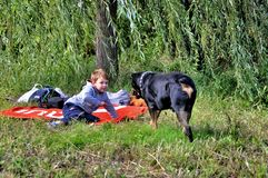 Little boy and big dog. Little boy playing with a big dog Rottweiler Royalty Free Stock Photos