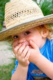 Little boy in  big hat Royalty Free Stock Photos