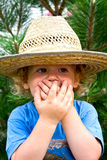 Little boy in a big hat Stock Image