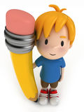 Little Boy and Big Pencil Royalty Free Stock Photos